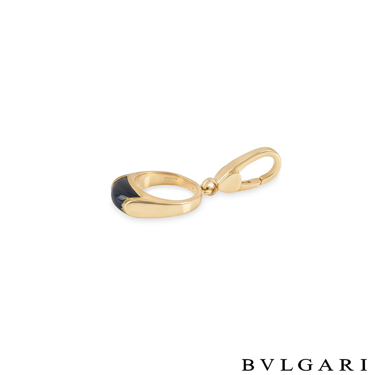 BvlgariYellow Gold Onyx Charm Pendant